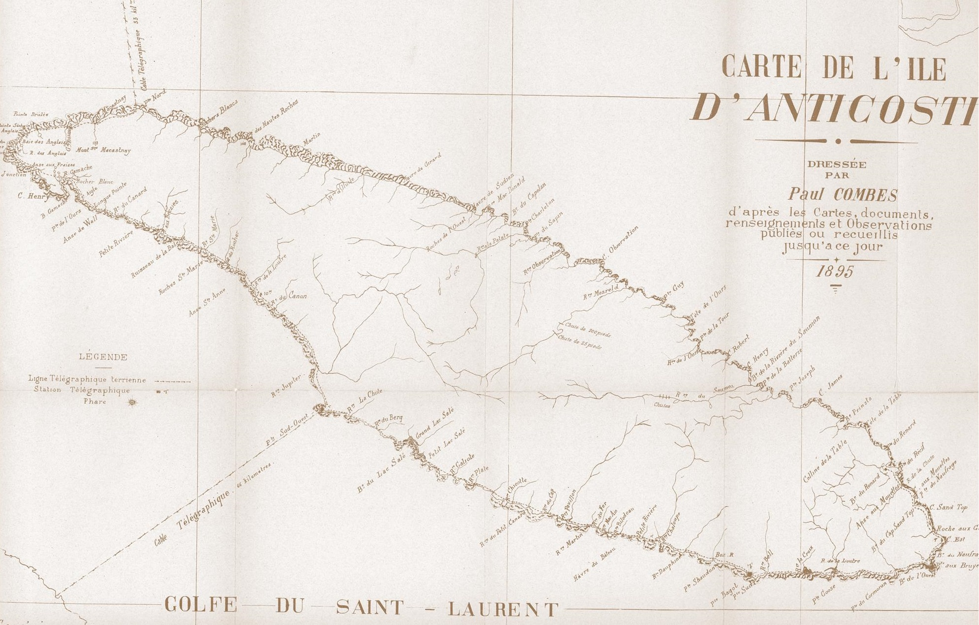 [Carte d'Anticosti de Paul COMBES, 1895]