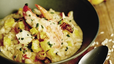Risotto homard et courge