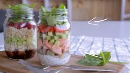 Salade en pot au saumon