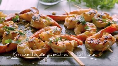 Brochettes de crevettes à la lime