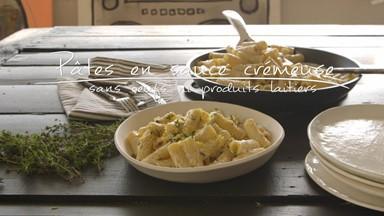 Pâtes en sauce crémeuse (sans oeufs ni produits laitiers)