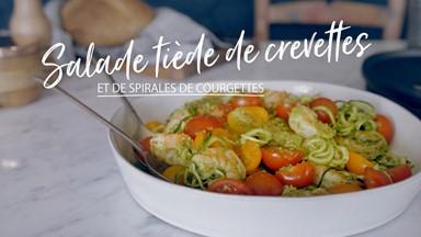 Salade tiède de crevettes et de spirales de courgettes